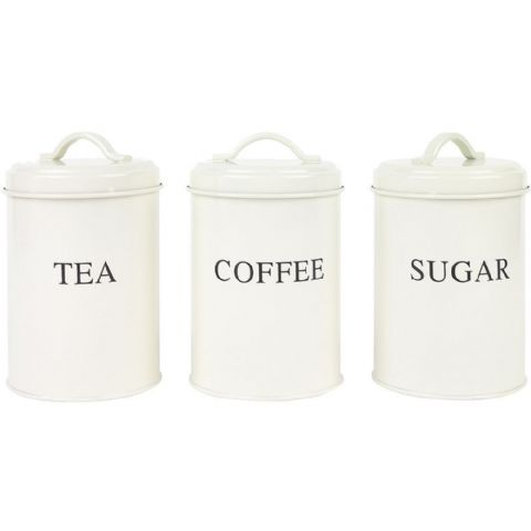 Retro Vintage Cream Metal Tea Coffee Sugar Canisters Tins